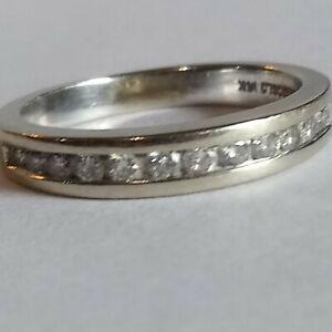 Magic Glo 14K White Gold Round Brilliant Natural Diamond Band Ring Size 5