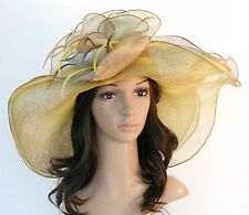 New Woman Church Derby Wedding Sinamay 3 Layers Dress Hat 2397 Beige multicolor