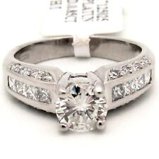 1.55CT New DIAMOND ENGAGEMENT RING PLATINUM CHANNEL ROUND HI/SI2 AGI CERTIFIED