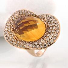 Ring mit Citrin ca. 8 ct und  Brillantbesatz 2,14 ct in 18k Roségold