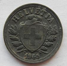 """1945 Switzerland 2 Rappen """"Zinc"""" WWII Coin  KM#4.2b """"High Grade Coin"""" SB5240"""