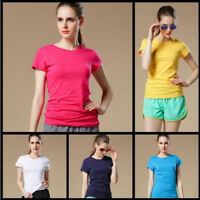 Women-Basic-Short-Sleeve-Stretch-Scoop-Neck-Plain-Top-Solid-Color-T-Shirt