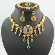 Red/Green Rhinestone Pendant Necklace Dubai 18K Gold Plated Bride Jewelry Set