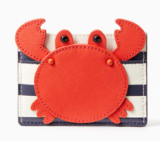 Kate Spade shore thing crab applique Leather card case holder ~NWT~
