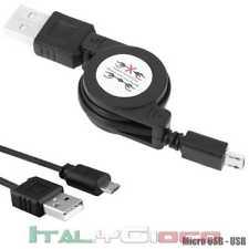 Cavo Cavetto Micro USB Retrattile per Samsung Caricabatteria Carica Nero Black