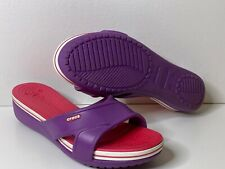 CROCS Women's Size 11 Pink & Purple Wedge Slip On Pool Beach Sandals
