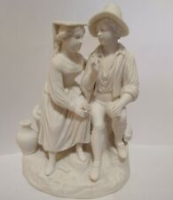 Antique Victorian Parian Bisque Statue Seated Couple Two Figures So Much Detail!