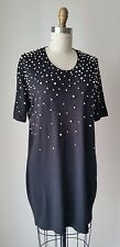 Markus Lupfer Pearl Beaded Black Cotton Jersey Mini Dress Sz S