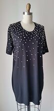 Markus Lupfer Pearl Beaded Black Cotton Jersey Mini Dress Sz S