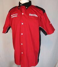 Speed Zone Racing Gear Size L Short Sleeve Button Up Shirt SAN DISC LENOVO MINT
