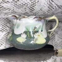 Vtg Hand Painted Porcelain Nippon Japan Creamer Swan Lily Pad Scene Gold Trim