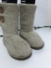 Ladies Girls Wool Boots Next Beige Chunky Button Size 2 Warm