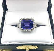 New! 2.8ct AAA Tanzanite Ring Solid 14K White Gold & All-Natural Diamonds