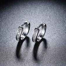 18k White Gold Filled Round CZ Hoop Ear Stud Earrings Wedding Bridal Jewelry