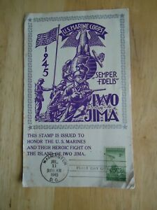 VERY RARE 1945 IWO JIMA 3c FIRST DAY OF ISSUE ON OVERSIZED L.W.STAEHLE CARD