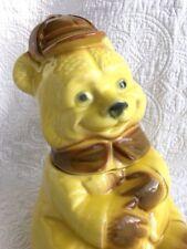 RARE Vintage American Bisque Yellow Hunting Bear w/ Brown Trim Cookie Jar