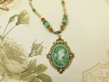Elegant Vintage/Antique style Green Lady Cameo w/Jade & Crystal embellishments
