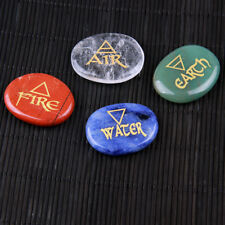 Mixed Palm Stones Crystal Carved Reiki Healing Element Symbols Free Pouch 4pcs