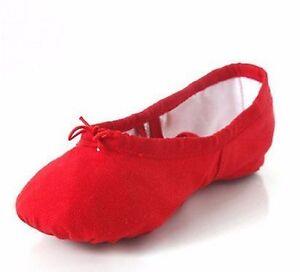 Red Split Sole Canvas Ballet Dance Gymnastic Shoes