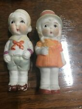 Lot of 2 Vintage Bisque Penny Dolls Girl & Boy Painted Gloss Made In Japan