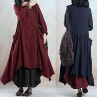 ZANZEA 10-24 Women Long Sleeve Cotton Caftan Kaftan Flare Swing Long Midi Dress