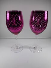 Hot Pink Wine Glasses - Two - Reflective - Large - Girly Girl