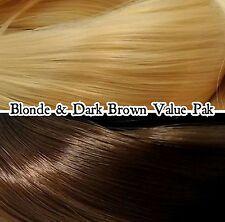 Dark Brown & Blonde 2 Color Value Pak Nylon Doll Hair Reroot Barbie Monster High
