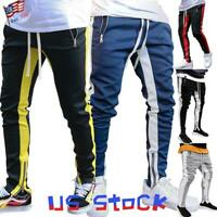 Fashion Men Pants Side Striped Ankle Zip Trousers Sports Dance Joggers Casual US