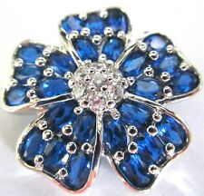 PJM Sterling Silver Blue Quartz Flower Pin