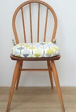 Dining Chair Cushion in Prestigious Verve Fabric Yellow Seat Pad Zipped Tie on