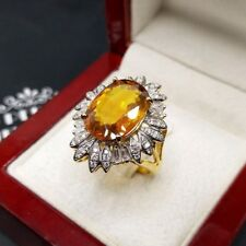 CLEAN! 6.69TCW Yellow Sapphire Diamond 18K Solid Yellow Gold Ring Natural Orange