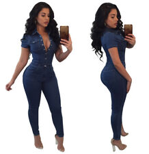 Women short sleeves casual bodycon denim jeans club party long jumpsuit rompers