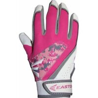 Easton Rival Fastpitch Batting Gloves Pair Youth Grey/Pink/White - Large