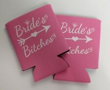 Brides Can Koozies Pink With White Wording Set Of 2 Wedding Party