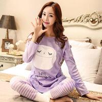 Maternity Sleepwear Cartoon Feeding Homewear Pajama Long Sleeve Tops + Pants New