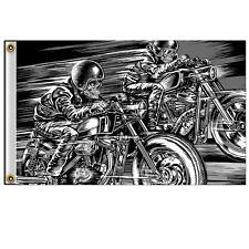 Biker Motorrad Chopper Cafe Racer Skull Racers Skelett Flagge Flag Fahne Banner