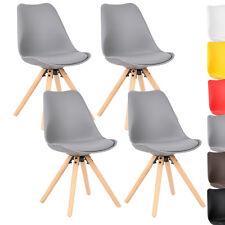 4 x Esszimmerstühle Küchenstuhl mit Rückenlehne Holz Kunstleder Grau BH52gr-4