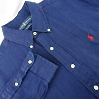 Mens Polo Ralph Lauren Classic Fit Oxford Golf Dress Shirt Size Large 100% Linen