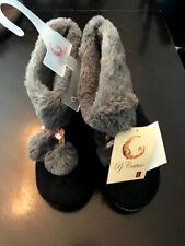 NEW Women's 5/6 Black Bootie Slipper with Grey Cuff. Warm Gift NWT