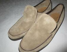 Men's Brown Suede Leather Vtg Slip On Hush Puppies Shoes Retro Size 10W