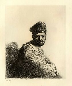 Rembrandt etching print heliogravure 1880 man with fur hat and embroidered