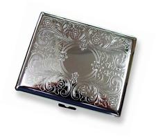 Etched Silver Metal Classy Cigarette Holder Case For 20 Regular 100s Size 100Mm