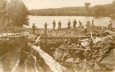 c1910 Occupation Worker Dam Building Rocks Lake RPPC Real Photo