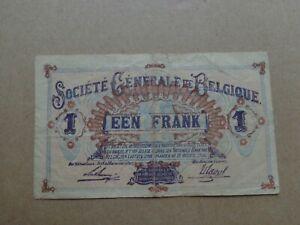 Belgium banknote - GERMAN OCCUPIED BELGIQUE 1918- Un Franc Belgie
