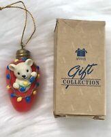 1994 Vintage Avon Gift Collection Christmas Cutie Ornament Light Bulb Mouse