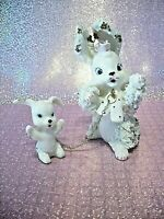 *SUPER RARE VTG Japan Pink Rose Bunny Rabbit Family Baby on Chain w/Tag Figurine