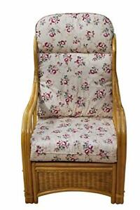Sorrento Cane Conservatory Furniture -Single Chair - 'Rose' Design Fabric