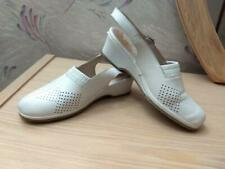 Spring Step Gina White Leather Slingback Wedge Shoes Sandal 37 (US 61/2 - 7)