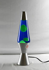 LAVA LAMP  SILVER BASE 37CM  KM802C BLUE LIQUID/YELLOW LAVA