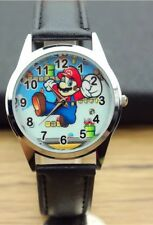Super Mario Brothers Black Genuine Leather Band Wrist Watch